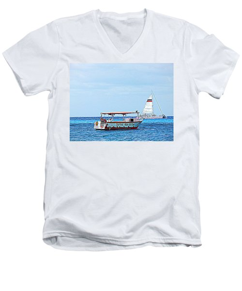 Cozumel Excursion Boats Men's V-Neck T-Shirt by Debra Martz