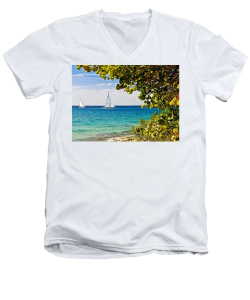 Men's V-Neck T-Shirt featuring the photograph Cozumel Sailboats by Mitchell R Grosky