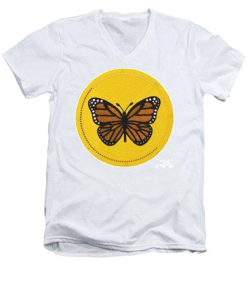 Cradleboard Beadwork Spring Butterfly Men's V-Neck T-Shirt