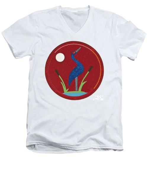 Cradleboard Beadwork Summer Crane Men's V-Neck T-Shirt