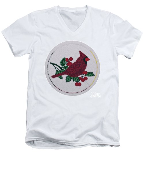 Cradleboard Beadwork Winter Cardinal Men's V-Neck T-Shirt