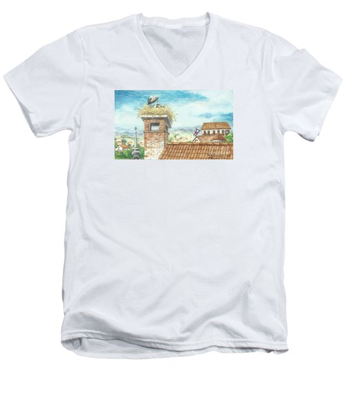 Men's V-Neck T-Shirt featuring the painting Cranes In Croatia by Christina Verdgeline
