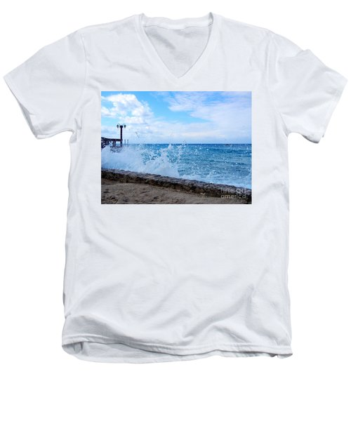 Crashing Waves In Cozumel Men's V-Neck T-Shirt by Debra Martz