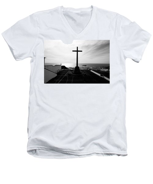 Cross Atop Old Chapel In Village  Men's V-Neck T-Shirt