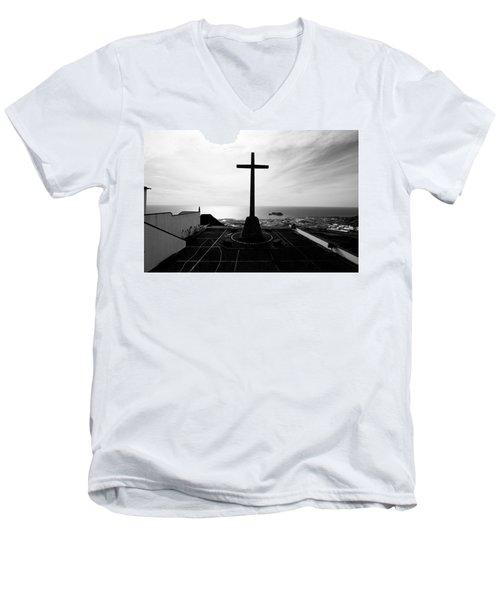 Cross Atop Old Chapel In Village  Men's V-Neck T-Shirt