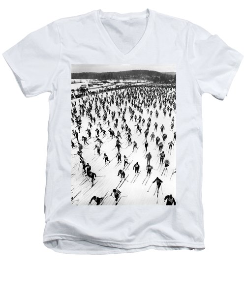 Cross Country Ski Race Men's V-Neck T-Shirt