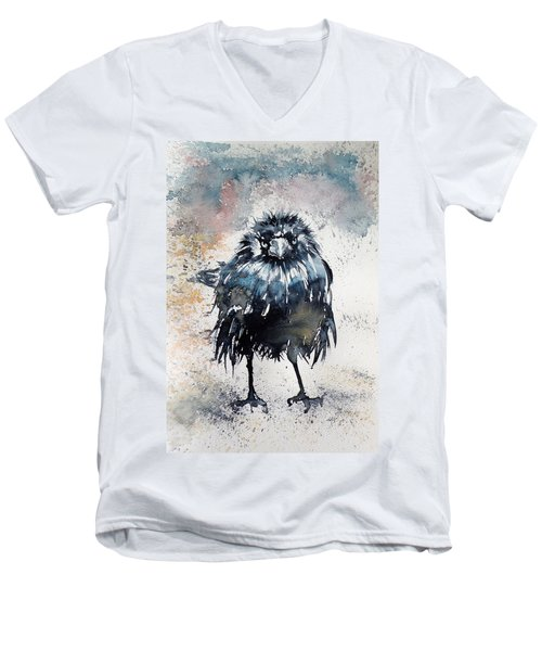 Crow After Rain Men's V-Neck T-Shirt by Kovacs Anna Brigitta