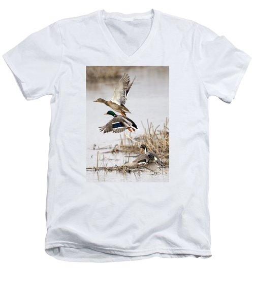 Crowded Flight Pattern Men's V-Neck T-Shirt by Mike Dawson
