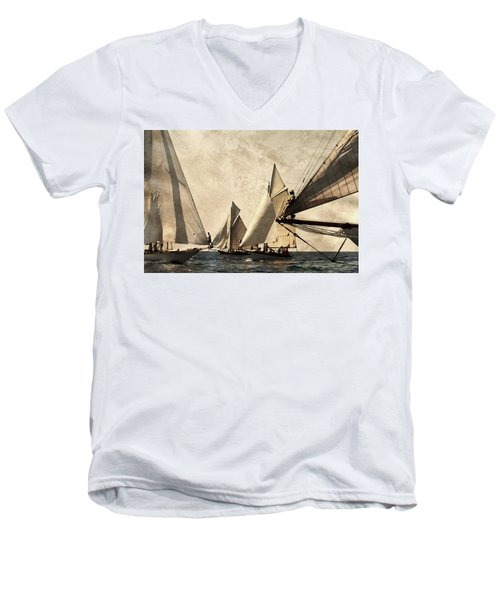 A Vintage Processed Image Of A Sail Race In Port Mahon Menorca - Crowded Sea Men's V-Neck T-Shirt by Pedro Cardona