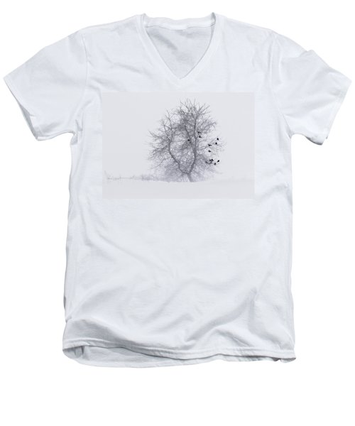 Crows On Tree In Winter Snow Storm Men's V-Neck T-Shirt