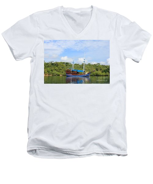 Men's V-Neck T-Shirt featuring the photograph Cruising Yacht by Sergey Lukashin
