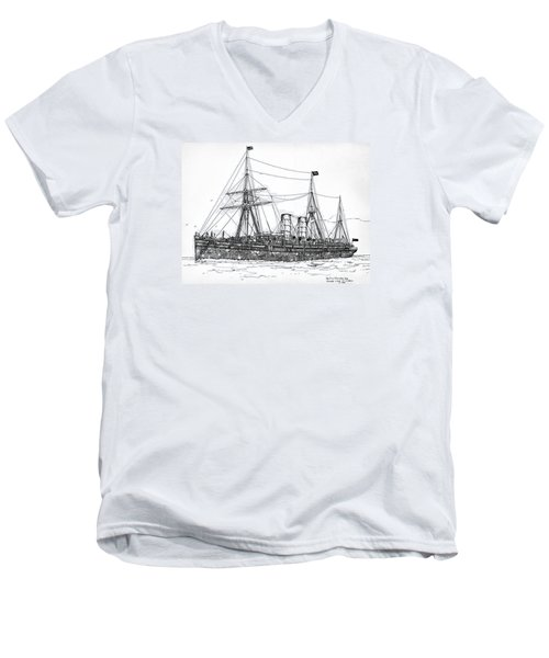 Men's V-Neck T-Shirt featuring the drawing Cunard Liner Umbria 1880's by Ira Shander