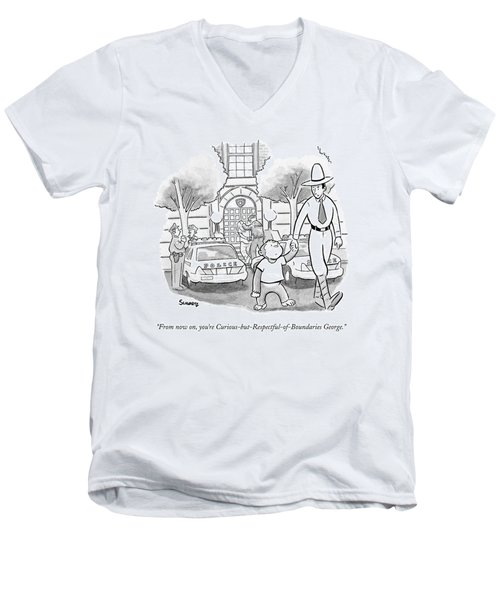Curious George Is Escorted Out Of A Police Men's V-Neck T-Shirt