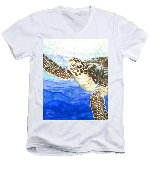 Curious Sea Turtle Men's V-Neck T-Shirt