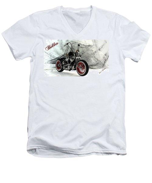 Custom Bobber Men's V-Neck T-Shirt by Louis Ferreira