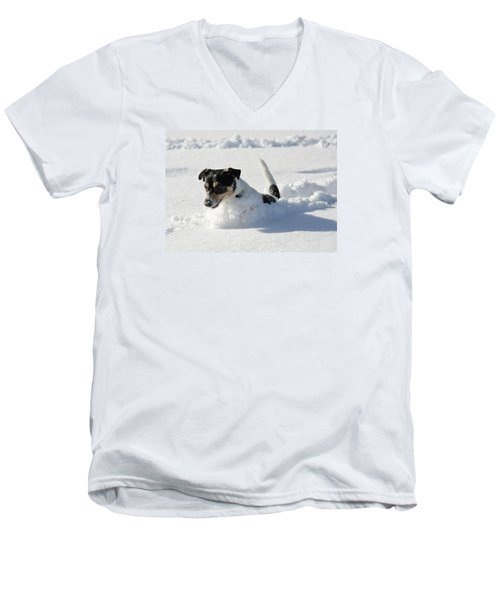 Men's V-Neck T-Shirt featuring the photograph Cute Dog Jumping In Snow by Dreamland Media