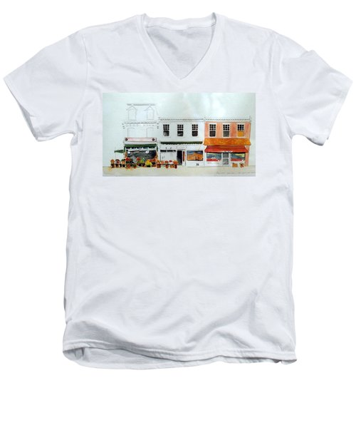 Men's V-Neck T-Shirt featuring the painting Cutrona's Market On King St. by William Renzulli
