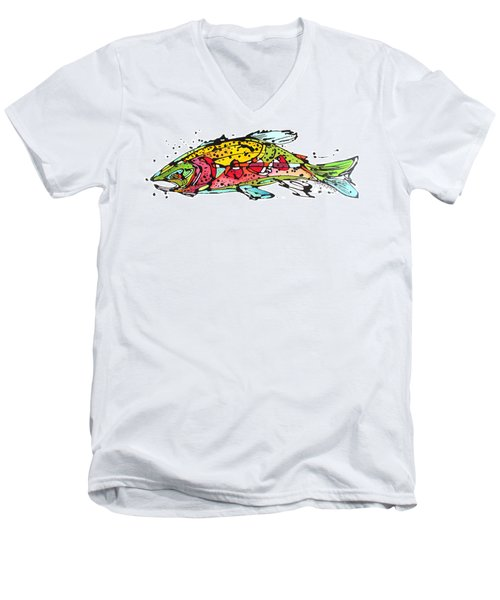 Men's V-Neck T-Shirt featuring the painting Cutthroat Trout by Nicole Gaitan