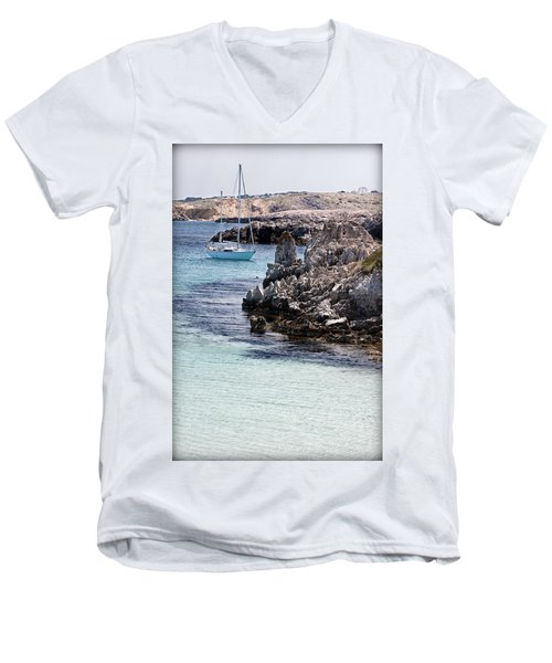 In Cala Pudent Menorca The Cutting Rocks In Contrast With Turquoise Sea Show Us An Awsome Place Men's V-Neck T-Shirt by Pedro Cardona