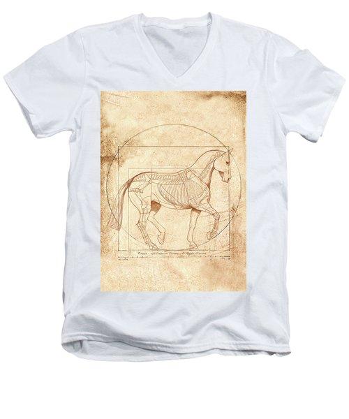 da Vinci Horse in Piaffe Men's V-Neck T-Shirt by Catherine Twomey