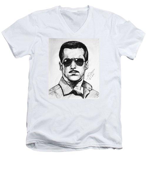 Salman Khan Men's V-Neck T-Shirt by Salman Ravish
