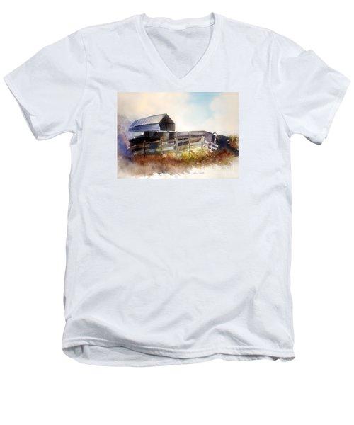 Men's V-Neck T-Shirt featuring the painting Dad's Farm by Allison Ashton