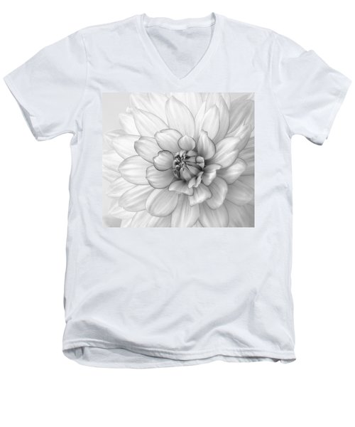 Dahlia Flower Black And White Men's V-Neck T-Shirt