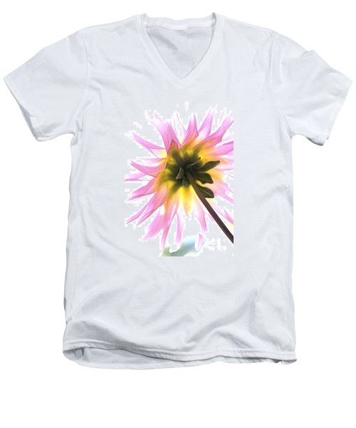 Men's V-Neck T-Shirt featuring the photograph Dahlia Flower by Joy Watson