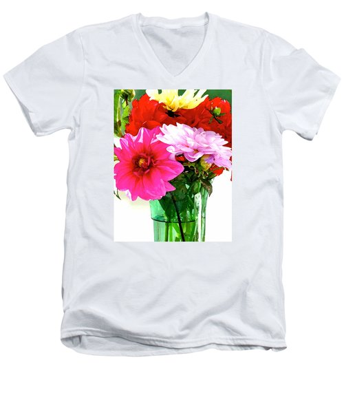 Men's V-Neck T-Shirt featuring the photograph Dahlias In The Sun by Lehua Pekelo-Stearns