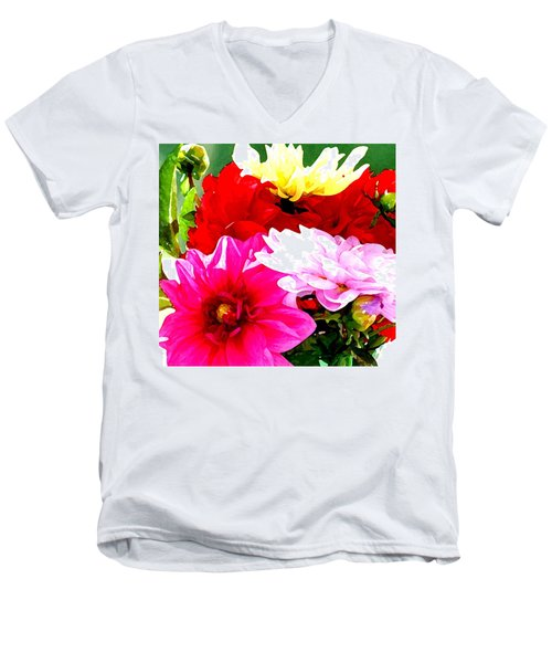 Men's V-Neck T-Shirt featuring the photograph Dahlias  by Lehua Pekelo-Stearns