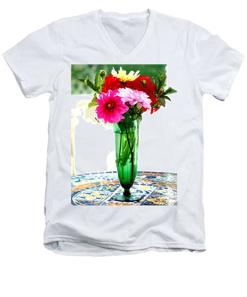 Dahlias On A Table In The Sun Men's V-Neck T-Shirt