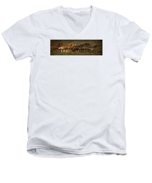 Men's V-Neck T-Shirt featuring the digital art Daily Double by Priscilla Burgers