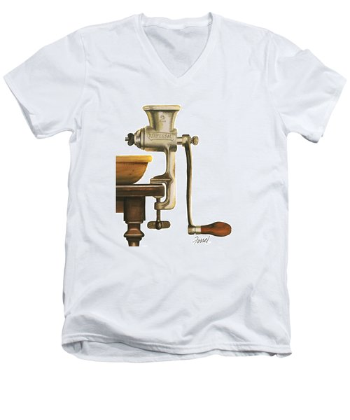 Men's V-Neck T-Shirt featuring the painting Daily Grind by Ferrel Cordle