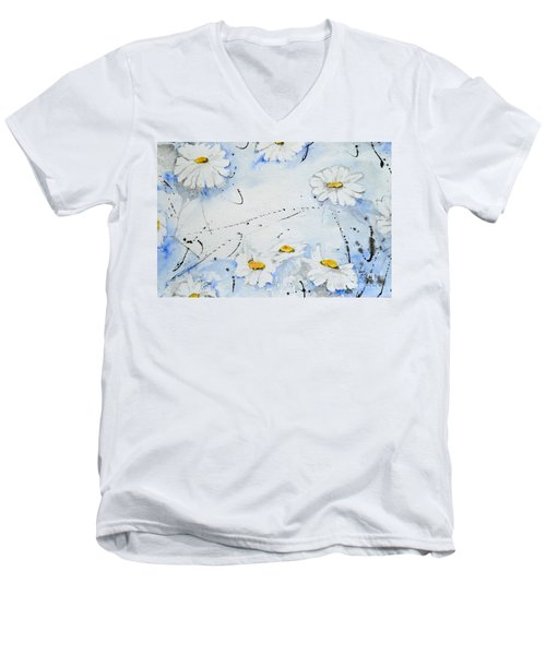Men's V-Neck T-Shirt featuring the painting Daisies - Flower by Ismeta Gruenwald