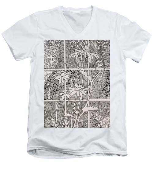 Daisies In A Window Men's V-Neck T-Shirt