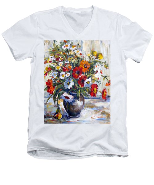Daisies Men's V-Neck T-Shirt by Alexandra Maria Ethlyn Cheshire