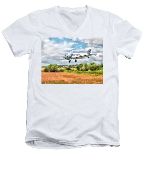Men's V-Neck T-Shirt featuring the digital art Dakota - Cleared To Land by Paul Gulliver
