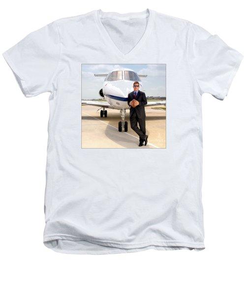 Dallas Cowboys Superbowl Quarterback Troy Aikman Men's V-Neck T-Shirt by David Perry Lawrence