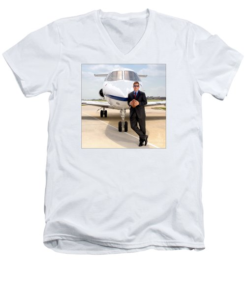 Dallas Cowboys Superbowl Quarterback Troy Aikman Men's V-Neck T-Shirt
