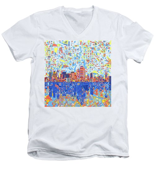 Dallas Skyline Abstract 5 Men's V-Neck T-Shirt