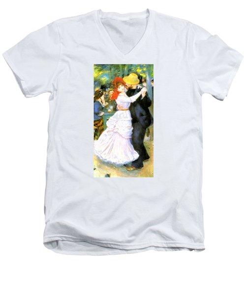 Dance At Bougival Men's V-Neck T-Shirt by Pierre Auguste Renoir