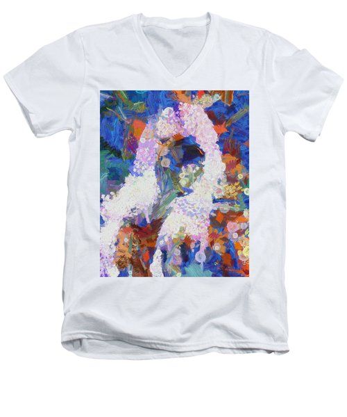 Men's V-Neck T-Shirt featuring the painting Dance Of Fools by Joe Misrasi