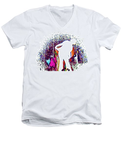 Men's V-Neck T-Shirt featuring the painting Dance With Me by David Mckinney