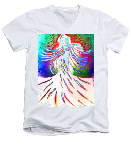 Men's V-Neck T-Shirt featuring the painting Dancer 4 by Anita Lewis