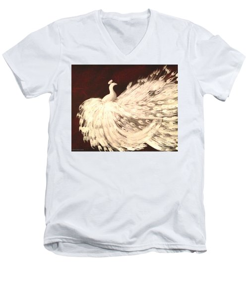 Men's V-Neck T-Shirt featuring the painting Dancing Peacock Cream by Anita Lewis