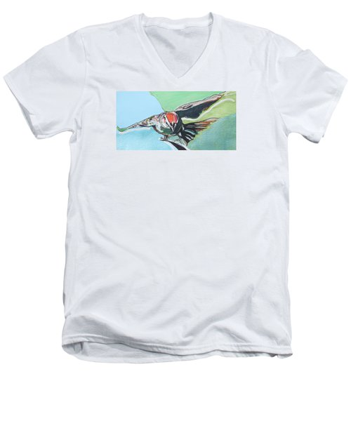 Dancing Sparrow Men's V-Neck T-Shirt by Jamie Downs