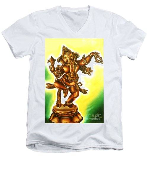 Dancing Vinayaga Men's V-Neck T-Shirt