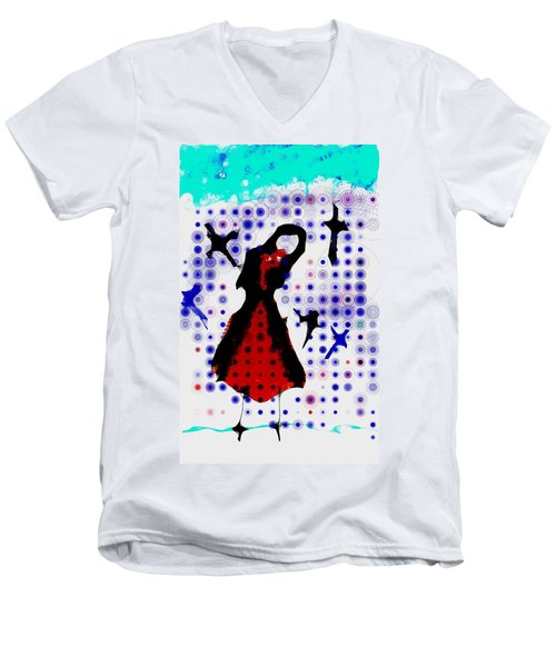 Men's V-Neck T-Shirt featuring the photograph Dancing With The Birds by Jessica Shelton