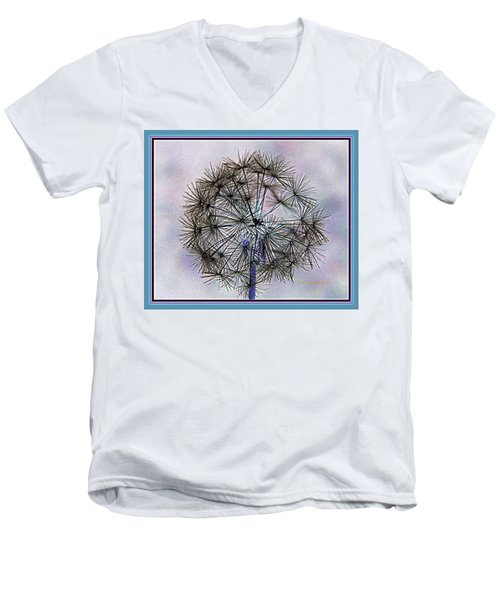 Dandelion Blue And Purple Men's V-Neck T-Shirt by Kathy Barney