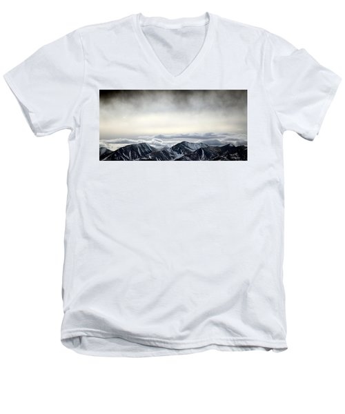 Men's V-Neck T-Shirt featuring the photograph Dark Storm Cloud Mist  by Barbara Chichester